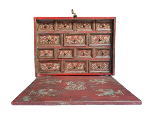One of a Kind Spanish Colonial 18th Century Bargueño - varguenho - All painted !