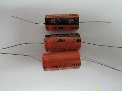 Sprague 5160m 1000uf 50v Capacitor Lot Of 3
