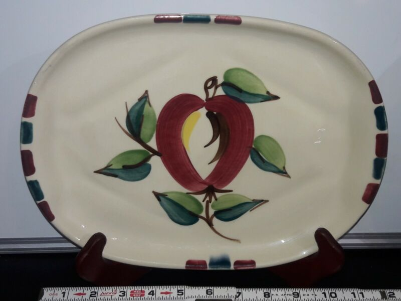 Vintage Purinton Slip Ware Hand Painted Apple Design - Oblong Oval Platter Plate