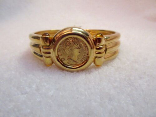 MMA Met Museum Roman Empress Coin Hinged Bangle Bracelet 14kt Gold Overlay + Box