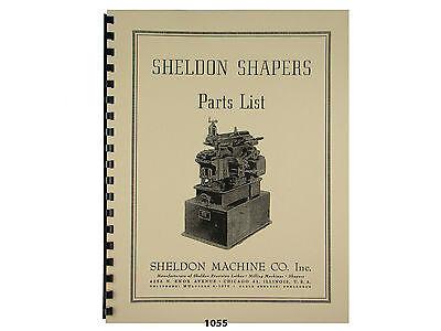 Sheldon Metal Shapers Parts List Manual  *1055