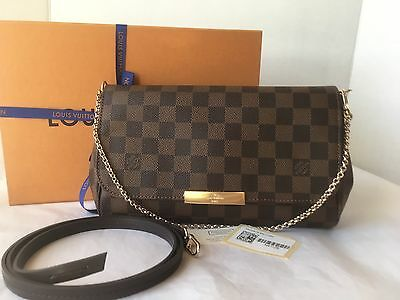 Auth BNIB Louis Vuitton Favorite MM Damier Ebene Canvas Bag Pochette Clutch 2018
