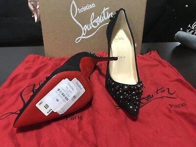 Christian Louboutin Womens Black Pearl Velour Red Bottoms Sz. 5.5 / Sz 36 $1195