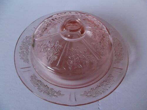 Round Covered Butter Dish lid Glass Pink Depression Federal Sharon Cabbage Rose