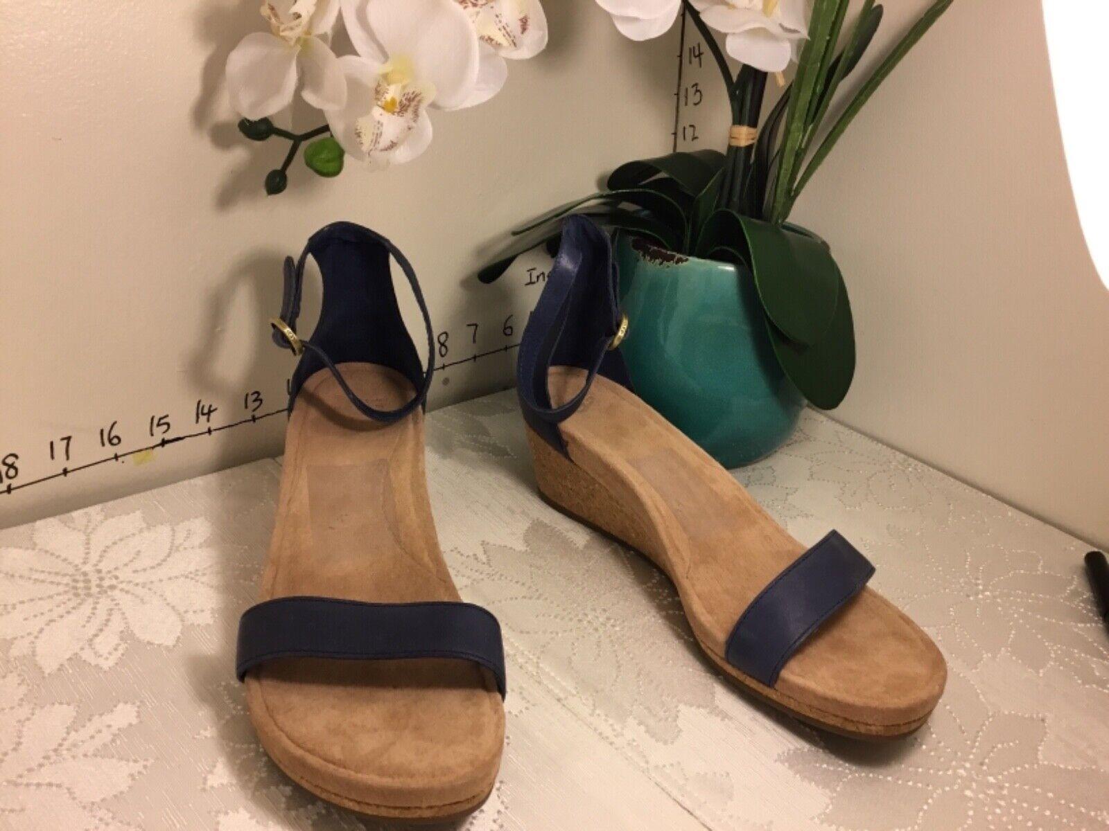 UGG Emilia Wedge Ankle Strap SANDALS Marino Leather Cork 101