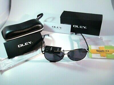 Oley Pilot Polarized Sunglasses Black Frames Gold Trim & A Blue Tinted Grey (Blue Tinted Aviators)