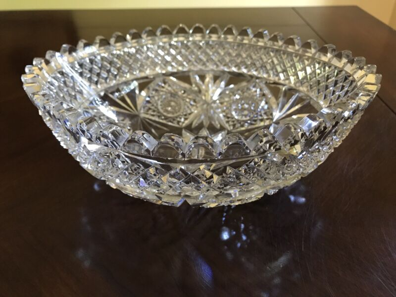 Antique Hawkes Gravic Carnation Pattern Cut Glass Bowl, Circa 1900