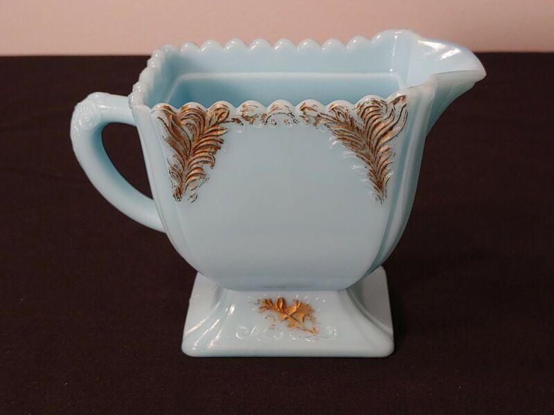 Rare Vintage Antique Sky Blue Milk Glass w/ Gold Accents Opaque Creamer Pitcher