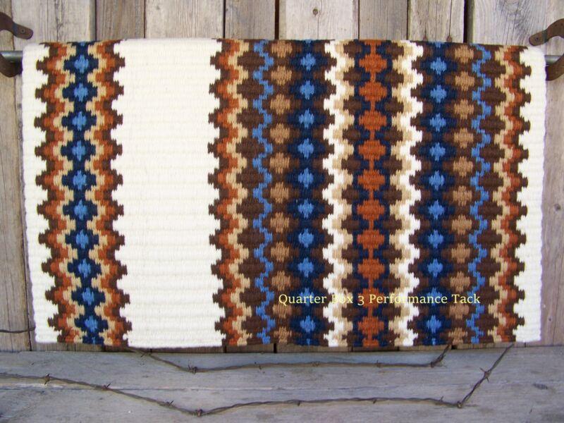 Gemini Show Blanket - 40x34 (Cream/Chestnut, Rust, and Blue Accents) by Mayatex