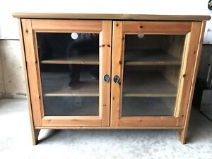 Natural Stain Wooden TV Stand Media Cabinet