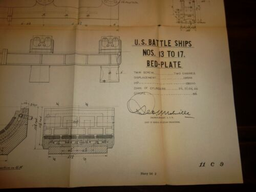 4 BATTLESHIP PHOTO Lithographs  -  VALVE Condenser ENGINE Bed Plate - Sec.of War