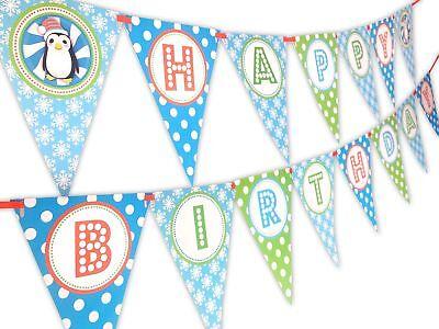 Penguin Party Orange Happy Birthday Banner