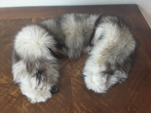 Vintage genuine arctic fox attachable collar  white-off with grey ends
