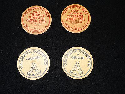4 Vintage MILK BOTTLE CAPS 2-PHILLIPSBURG,NJ,(TUBERCULIN FREE) 2-GRAMANA DAIRY