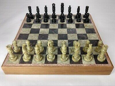 Chess Set Wood & Inlaid Marble Board/Case w/ Ebony & Gorora Stone Pieces - India Ebony Wood Chess Pieces