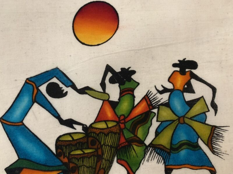 Kenya Batik Drummer and Dancers African Textile Art White