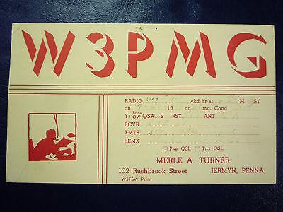 Vintage 1940s QSL Radio Card Postcard W3PMG - from JERMYN, PA PENNSYLVANIA