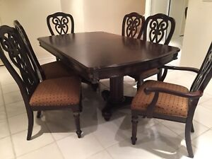 Dining table and 4 side chairs and 2 armchairs