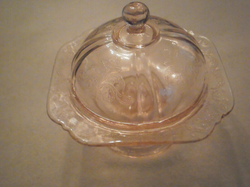 Vintage Pink Depression Style Butter Dome And Dish, Madrid Pattern, Recollection