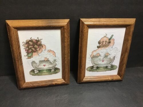 COUNTED CROSS STITCH (SET OF 2) COMPLETED FRAMED VICTORIAN BATHROOM PICTURES