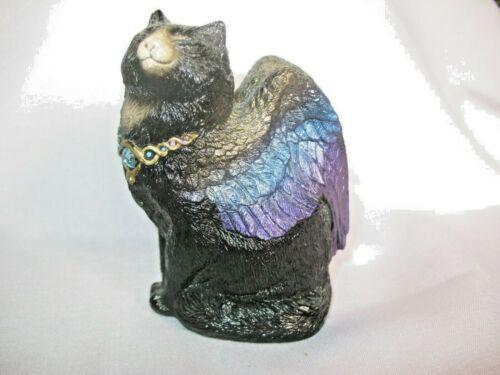 Windstone Editions Flap Cat w/jewel collar/ Iridescent Blue wings Pena 88
