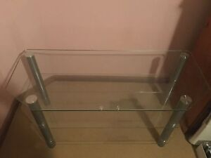 Used glass TV stand with shelves Grays Point Sutherland Area Preview