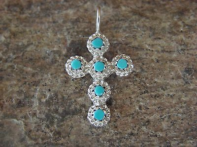 Zuni Indian Jewelry Sterling Silver Turquoise Cross Pendant Handmade