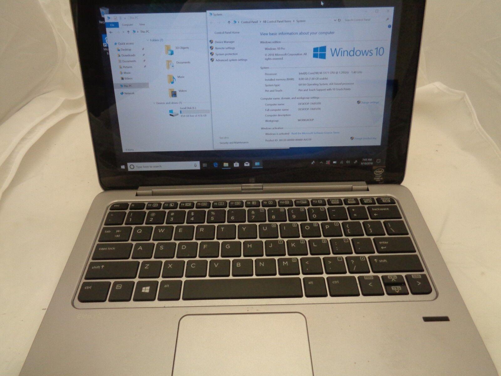 "HP Elite x2 1011 G1 11.6"" Intel Core M-5Y71 1.20GHz 8GB RAM 512GB SSD *Bios"