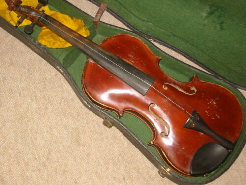 Beautifully flamed old 4/4 Violin  violon 1 part back!