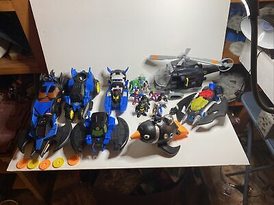 Lot of Imaginext DC Heroes Vehicles Bat mobile Bat Wing Helicopter Figures