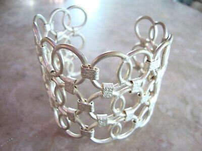 Hammered Circles Cuff Bracelet (WIDE HAMMERED OPENWORK CIRCLES FILIGREE SILVER ADJUST METAL CUFF BANGLE)