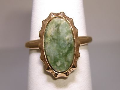 1940s Jewelry Styles and History VINTAGE 1940'S COVENTRY 12K GOLD FILLED GREEN JADE JADEITE RING! SZ 7 1/2 $39.95 AT vintagedancer.com