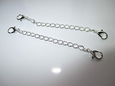 Jewellery - UK 2 x Double Clasp Silver Extension Necklace Bracelet  Jewellery Extender Chain