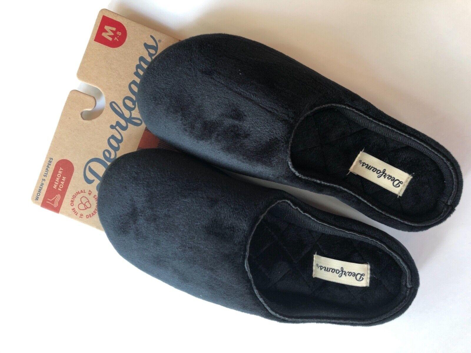 New Dearfoams Genuine Beautiful Super Soft Black Women's Slippers - US 7 Medium