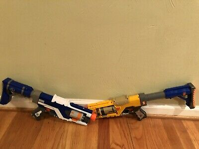 Nerf N-Strike Spectre Rev-5 Yellow and Blue Revolver Blaster Lot of Two