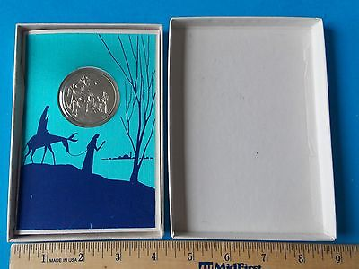 VINTAGE FRANKLIN MINT 1970 STAR OF CHRISTMAS CARD WITH COIN IN BOX