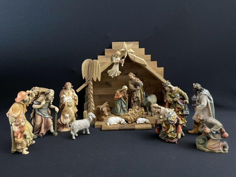 """~*~5"""" Wood-carved Hand-painted Nativity Set Italy/ANRI-style~*~"""