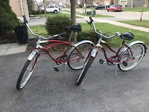 His and hers Supercycle Classic cruised bicycles