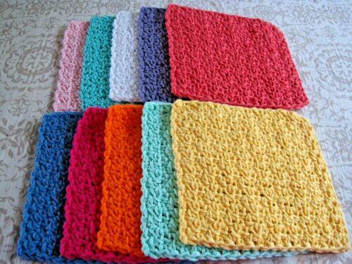 "10 Crochet  Dishcloths / Washcloths 100% Cotton - Handmade - 6 ""- # 9-1"