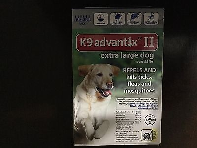 K9 ADVANTIX II FLEA AND TICK CONTROL DOG OVER 55 LBS- 6 PACK- NEW IN BOX- USA