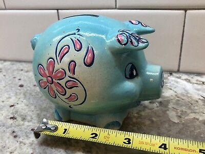 Vintage Blue Pink Pig Flower Painted Piggy Bank Banthrico Chicago 3.5