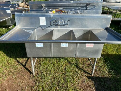 "Stainless Steel 90"" x 36.5"" Heavy Duty 3 Compartment Wash Kitchen Sink w/Faucet"