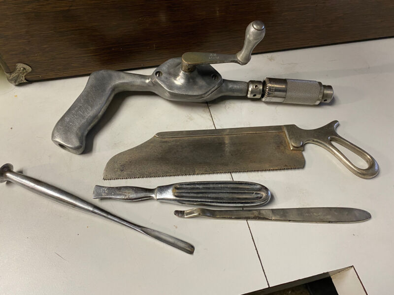 Vintage Amputation Flesh Bone Drill Chisel Saw Surgeon Medical Instrument Lot