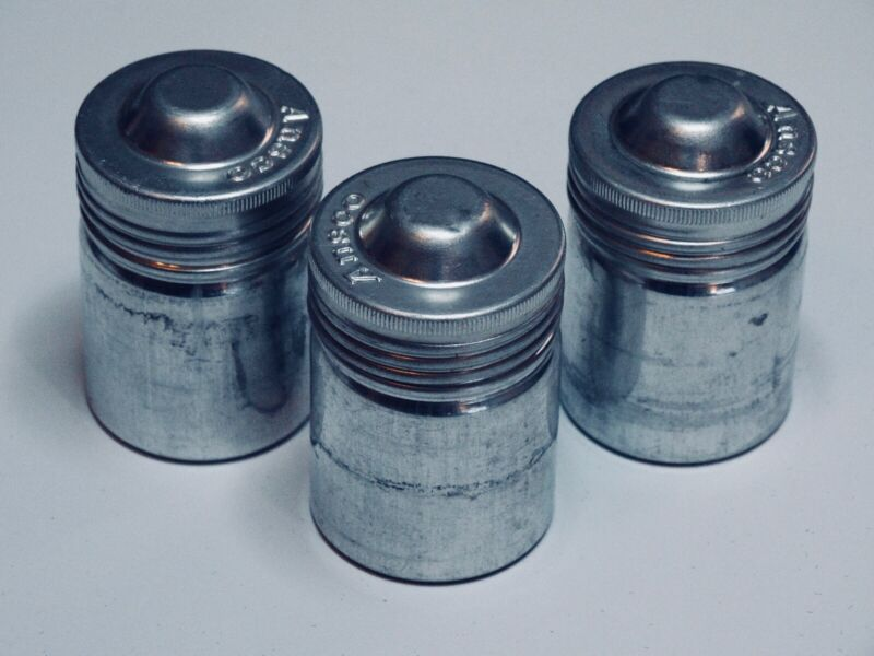Lot of 3 Airtight Vintage Ansco Metal Film Canisters