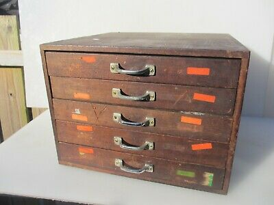 Vintage Wooden Chest of Drawers Chest Mid Century Art Deco Old 16