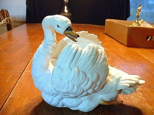Antique 19ThC European Bisque Porcelain Swan Planter