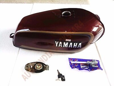 YAMAHA RX100 RX125 NEW PETROL GAS FUEL TANK WITH CHROME LID CAP & DECALS EMBLEM