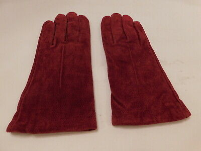 **DESIGNER LADIES CRANBERRY SUEDE WINTER GLOVES ACRYLIC KNIT LINING SIZE 7.5*