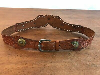 "Vintage Woven Leather Metal Rivets & Buttons Belt (Length 36"") Small"