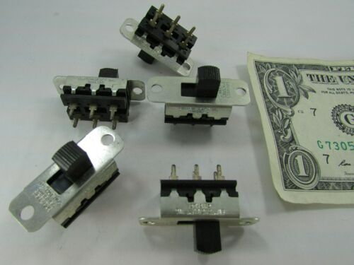 5 Switchcraft USA DPDT Slide Switches, 2-Pole 3A/125VAC 1.5A/250VAC 11A1534, DC
